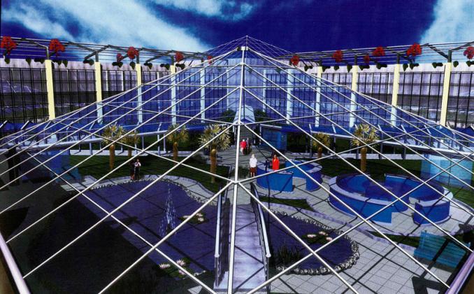 Reendering copertura in vetro giardino interno